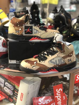 Brand New Supreme Desert Camo 5's size 13 for Sale in Silver Spring, MD