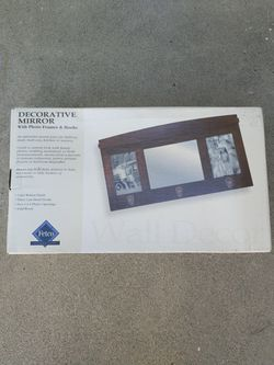 Decorative mirror and photo frame with 3 hooks Thumbnail