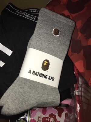 a6a13f4a3a60 Los Angeles, CA. A Bathing Ape Bape socks shark one size grey black BBC  supreme box logo for Sale