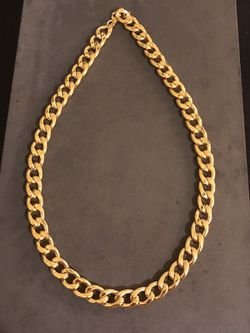 """NEW 22"""" 11mm 18k yellow gold and durable stainless steel chain, necklaces Thumbnail"""