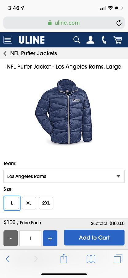 separation shoes 50e77 0b549 NFL Los Angeles Rams Puffer Jacket for Sale in Lancaster, CA - OfferUp