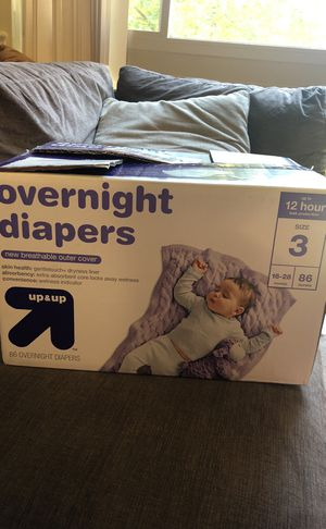 Over night diaper size 3 for Sale in Silver Spring, MD