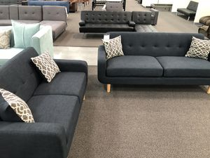 New Couch Sofa Set. Dark Blue. Dorris Fabric. Free Delivery! for Sale in Los Angeles, CA
