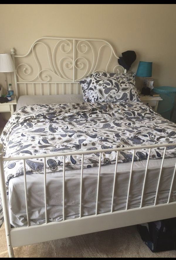Ikea Leirvik Bed Frame White Full Size Iron Metal Country