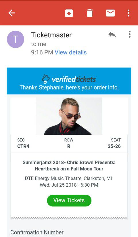 Chris Brown @ DTE Music Theatre for Sale in Independence charter Township,  MI - OfferUp