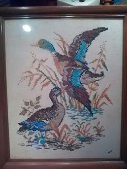 mid century pheasant cross stitch art Thumbnail