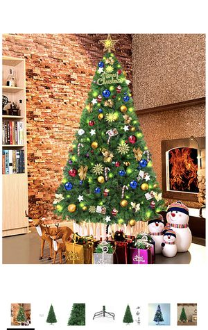 7.5 Ft Artificial Christmas Tree Spruce Hinged Xmas Tree Christmas Decorations for Indoor and Outdoor Easy Assembly 1250 Branch with Metal Stand(Green for Sale in Elkridge, MD