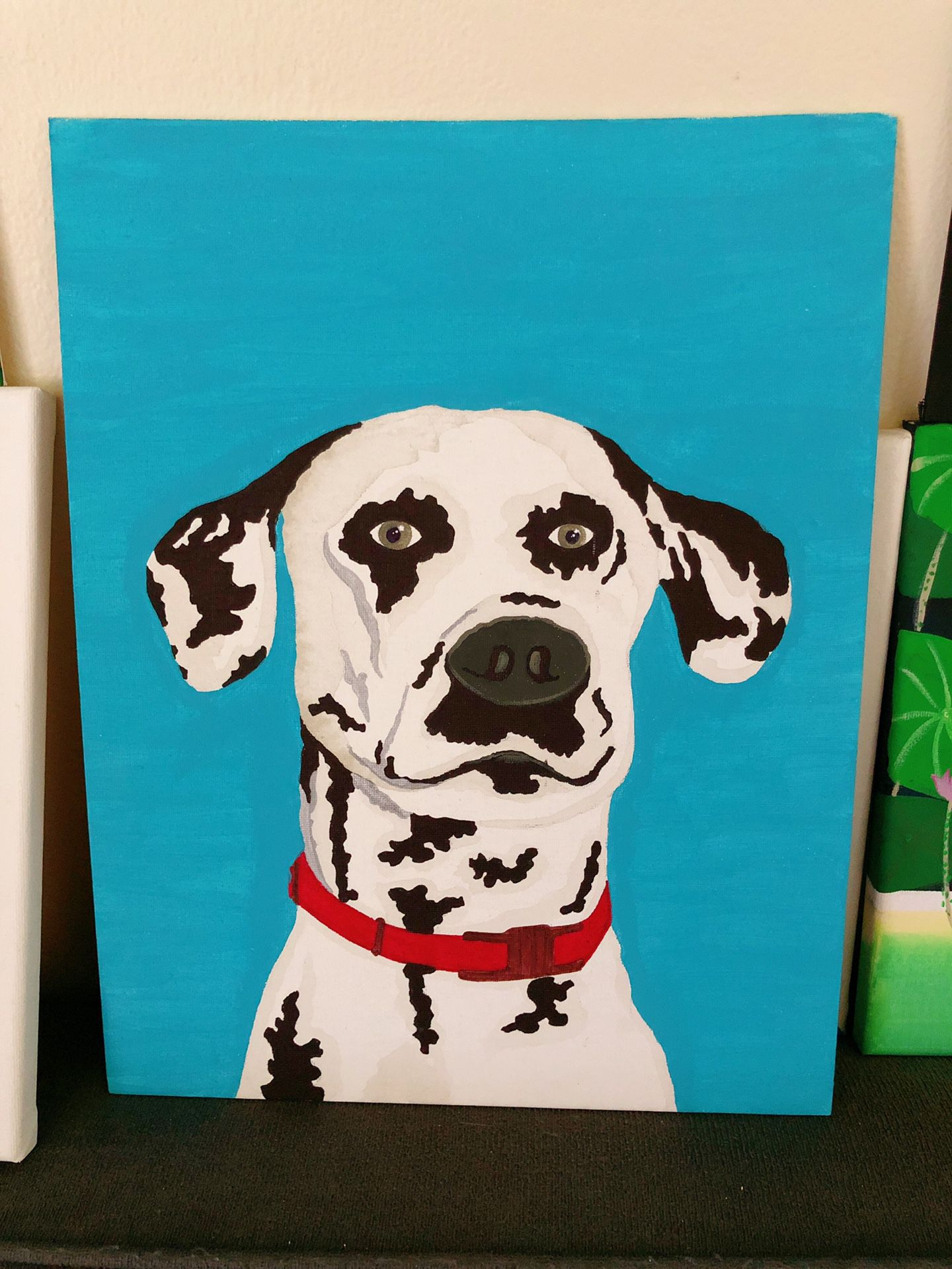 Lovely Dog On Canvas Panel . Brand New