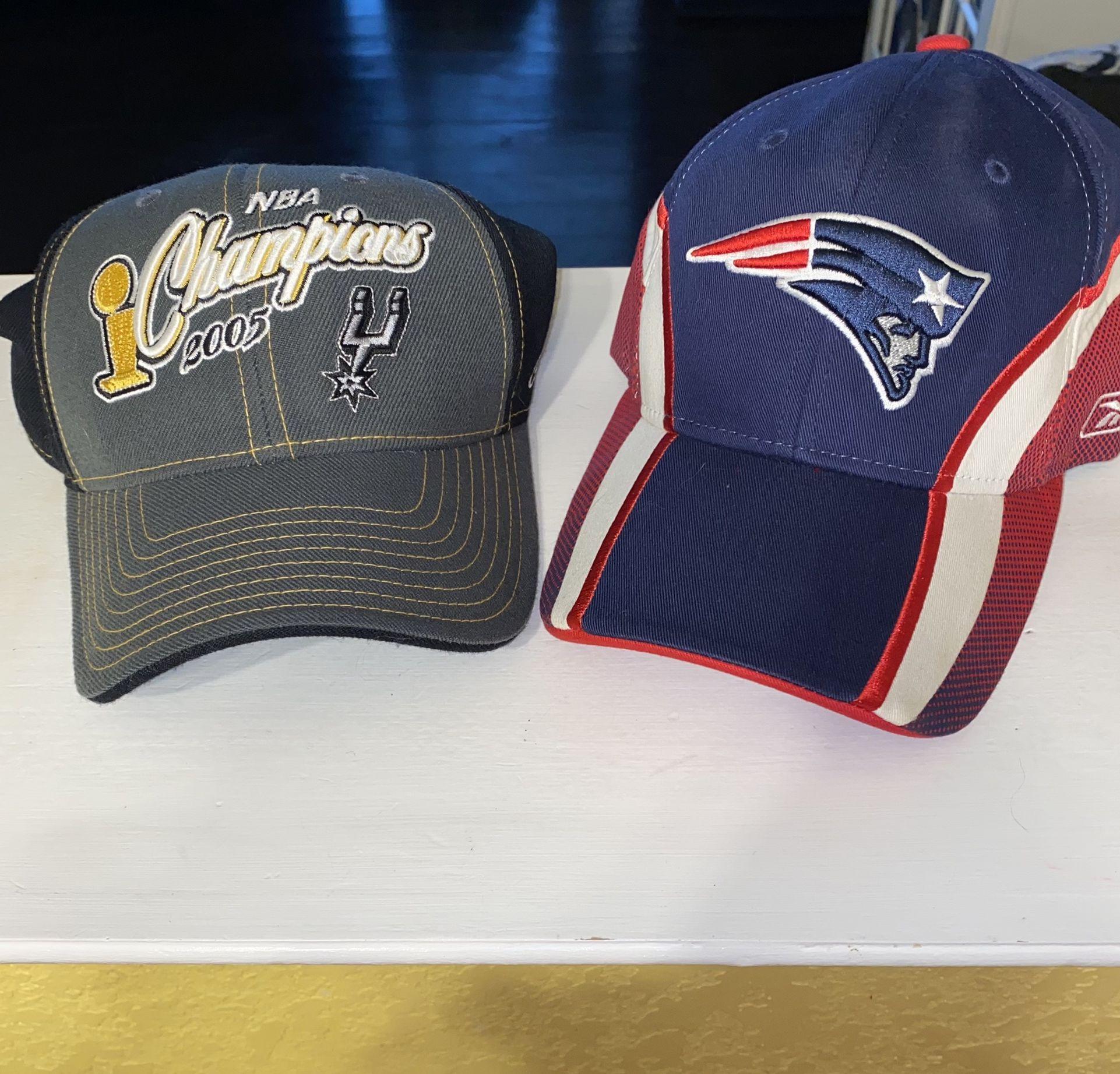 $10 Spurs and Patriots caps