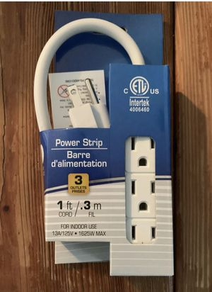 Photo 3 Prong 3 Outlet Power Strip 1ft Extension Cord Heavy Duty