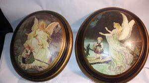 Photo Vintage Decoupage Guardian Angel Art Pottery Ceramic Wall Hanging Plaque Pair 11.5 x 10