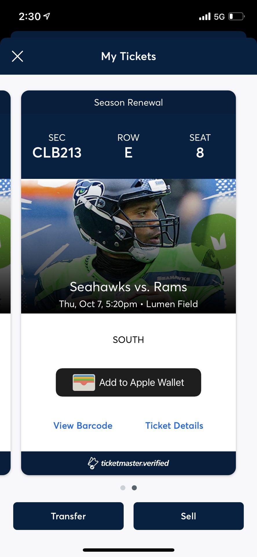 Seahawks vs Titans - Club Seats