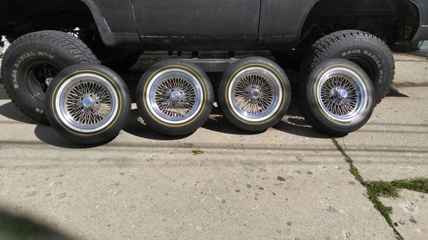 15 Inch Dayton Wire Wheels With Vogue Tyres Rare And Oldschool For Sale In Berwyn Il Offerup
