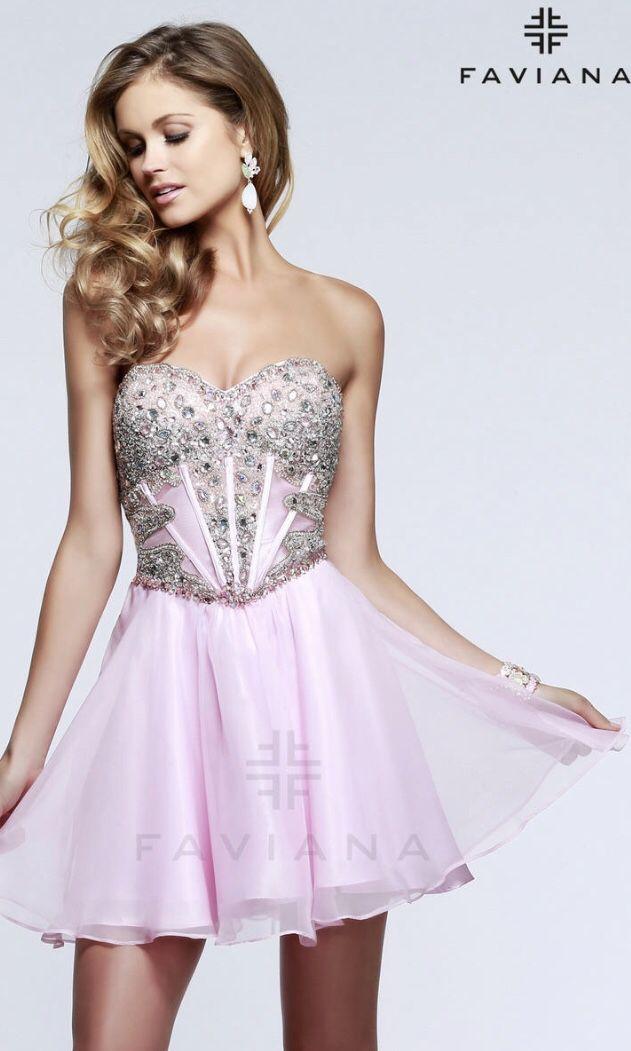 Faviana 7621 Light Pink Homecoming Dress