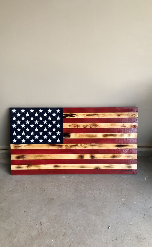 Rustic Wooden American Flag For Sale In Alsip Il Offerup