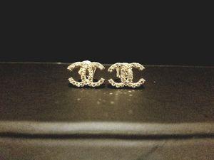 CC logo mini 10k white gold stud earrings for Sale in Orlando, FL