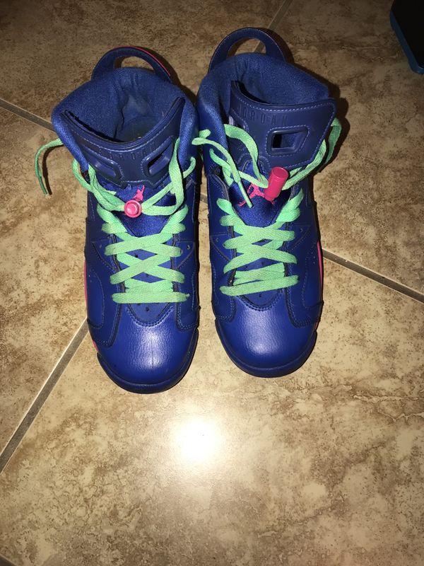 new arrivals f16f0 81287 -Nike Air Jordan VI 6 Retro GS Game Royal Blue Pink Size 7Y.