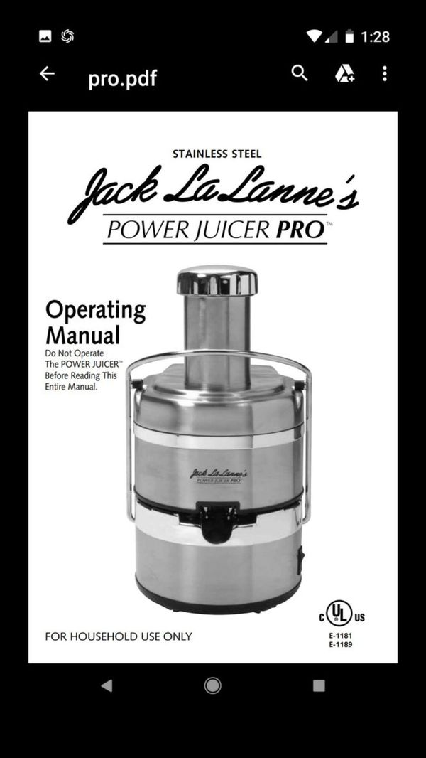 Jack Lalanne Power Juicer Pro E 1189 Model For Sale In Tacoma Wa
