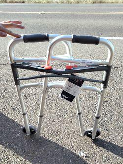 "Brand New  ""Drive"" Foldable Delux Two Button Walker W/ 5"" Wheels Thumbnail"
