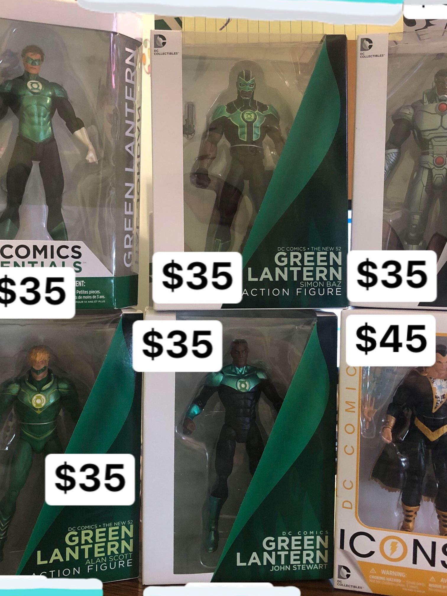 New Dc Action Figures Green Lantern And Black Adam And Cyborg