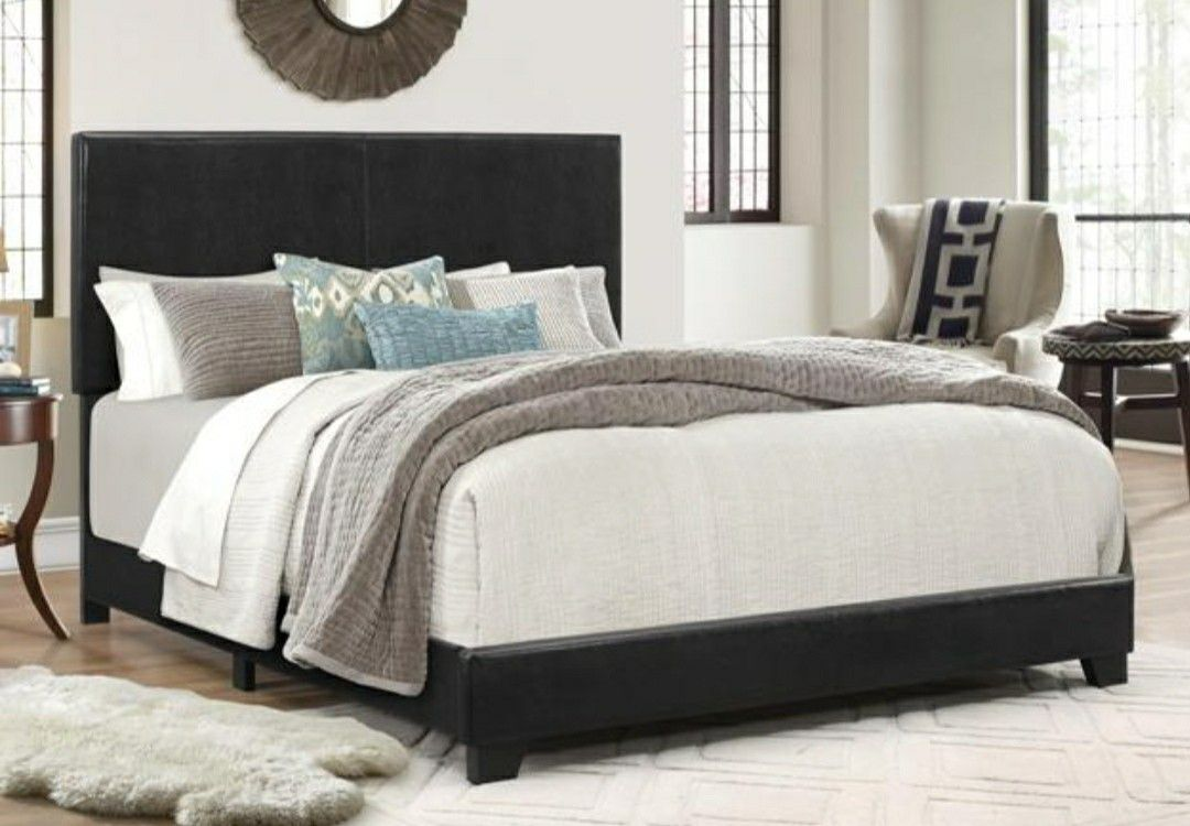 [SPECIAL] Erin Black Faux Leather Full Bed   5271