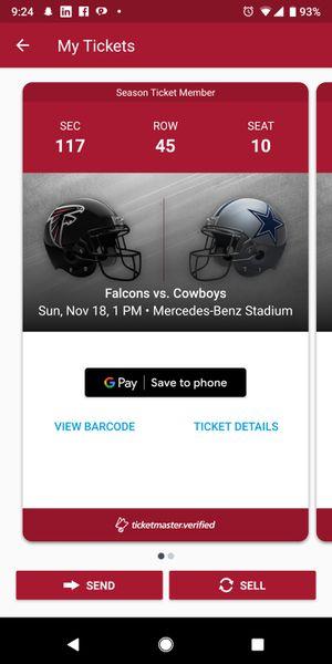 Falcons vs cowboys for Sale in Atlanta, GA