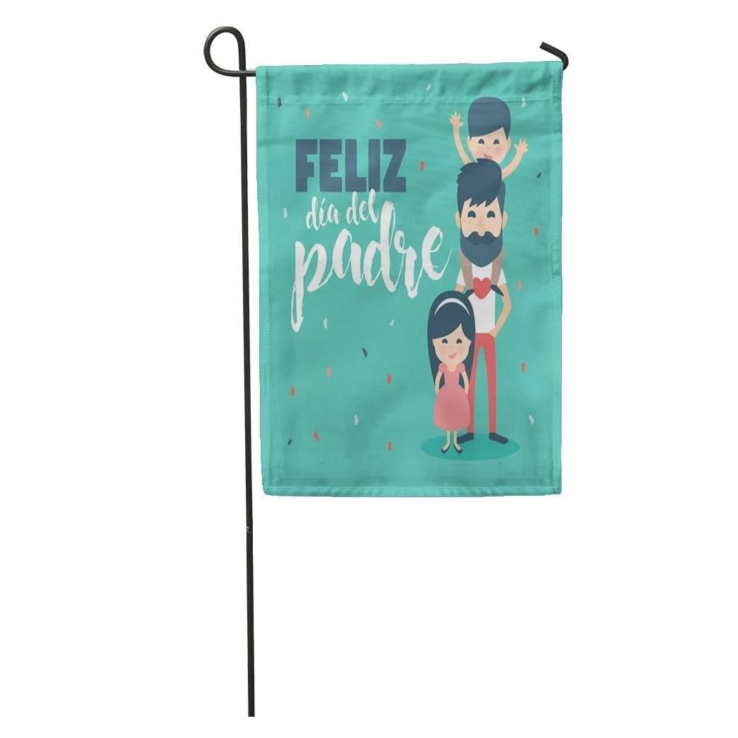 Father Dad Beard and Children Happy Father´S Day Written in Spanish Son Daughter Garden Flag Decorative Flag House