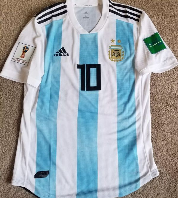 d74bd41de07 Player Version Leo Messi- Argentina Match Home Russia 2018 World Cup Jersey-  MENS LARGE