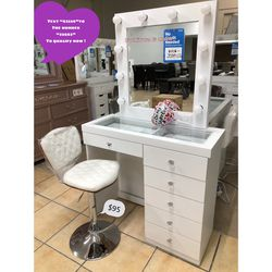 Brand New Vanity 😍👍🏻 Lightbulbs & Chair Sold Separate !! Qualify To Buy Now & Pay Later No credit Needed ☎️ Thumbnail