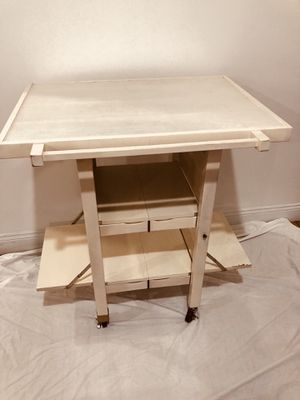 Rolling Oasis Island Off White Folding Kitchen Cart for Sale in Lynchburg, VA
