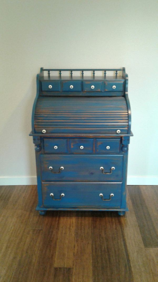 Antique Distressed Blue Secretary Roll Top Desk Dresser For In On Wa Offerup