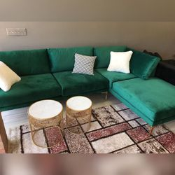 Ephesus Green RAF Velvet Sectional No credit check🚚 same day delivery ⚡️ Thumbnail