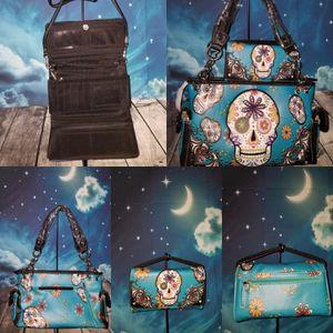 Blue Sugar Skull Conceal Carry Handbag and wallet for Sale in UT, US