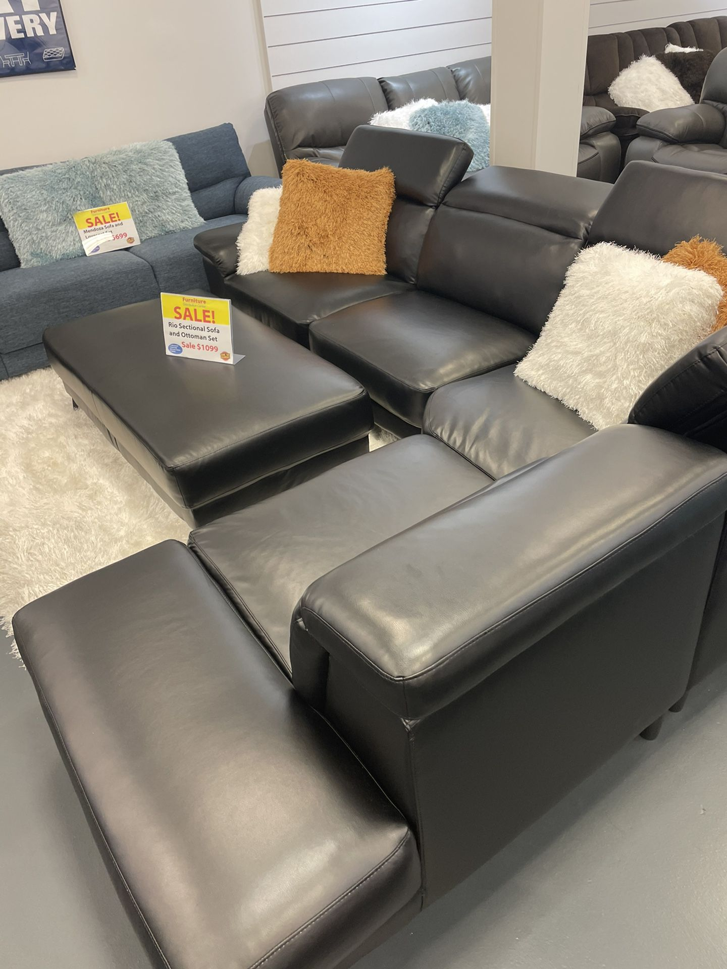 BLACK RIO! ALSO IN WHITE! WITH OTTOMAN! BRAND NEW! DELIVERY TODAY! 12mo NO INTEREST FINANCING! DELIVERY TODAY! NO CREDIT NEEDED FINANCING!