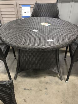 5 Piece Wicker Round Outdoor Dining Set Thumbnail