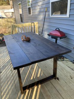 Inside/ outside weather treated wood table Thumbnail