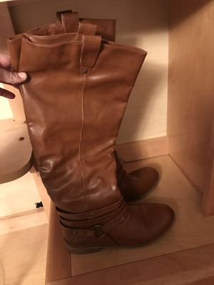 Brown leather size 8.5 tall boots for Sale in Alexandria, VA