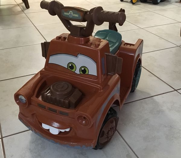 Kid Trax Disney Pixar Cars 3 Tow Mater 6 Volt Toddler Quad Electric Ride On