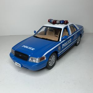 Photo NEW Large 2007 NYPD Police Blue Ford Crown Victoria Cop Patrol Car Sedan Toy Diecast Metal Model Scale 1/24 1:24 124 911 Emergency Rescue with Sirens