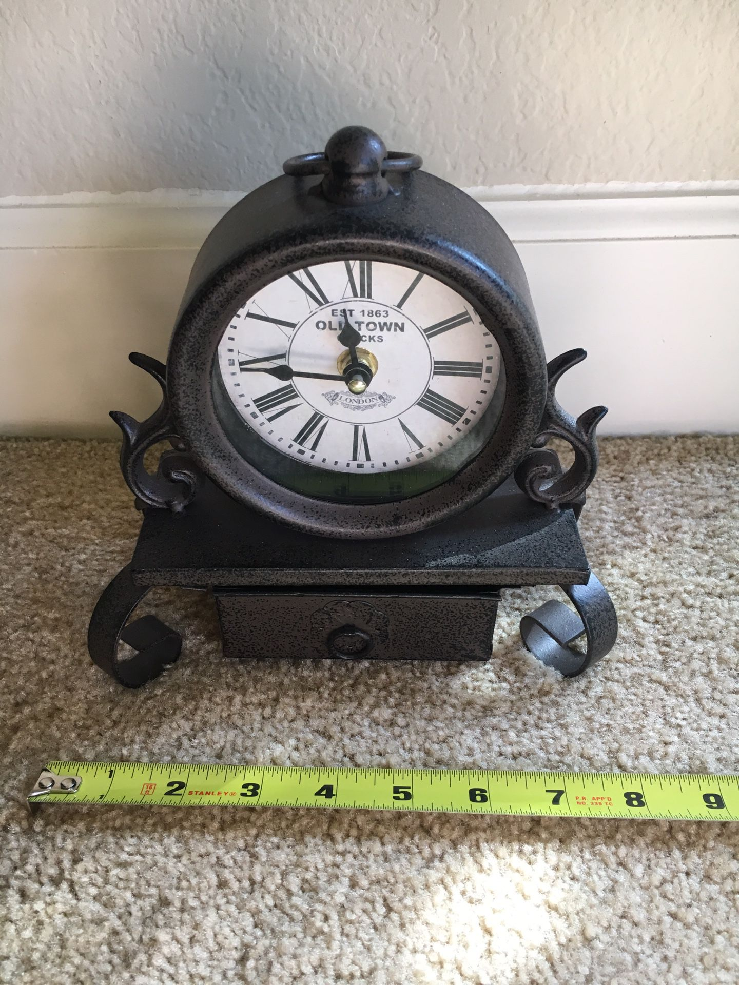 Small metal kitchen clock with drawer