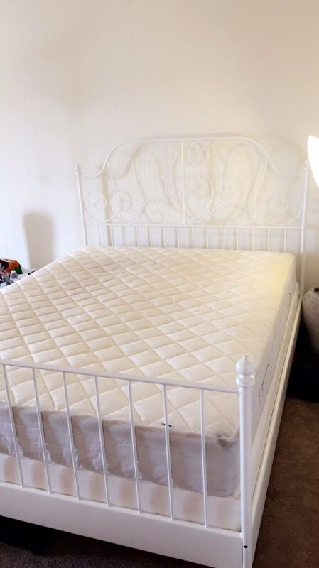 IKEA LEIRVIK Bed Frame White With Box And Matress For Sale In Daly City CA