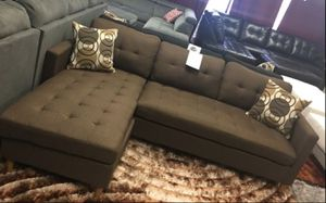 Brand New Brown Linen Sectional Sofa Couch + 2 Accent Pillows for Sale in Silver Spring, MD