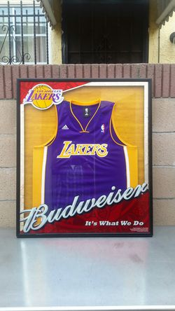 BUDWEISER / LAKERS JERSEY FRAME. ( ALSO PLENTY OF ...