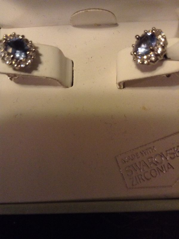 Kiera Couture Sterling Silver Earrings Light Blue Saphire With Cubic Zirconia