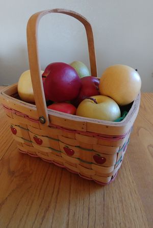 Apple wicker basket full of artificial apples for Sale in Peoria, AZ