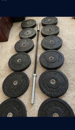 Full Set Bumper Plates + Zinch Olympic Barbell  Thumbnail