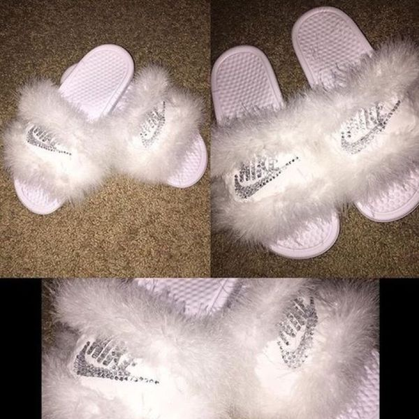 159872038282 Custom diamond and fur Nike slides for Sale in Queens
