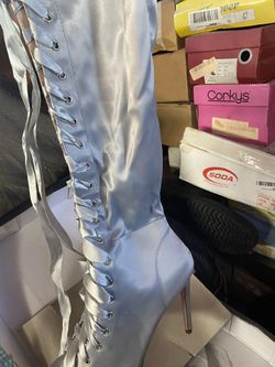Light Blue Satin Thigh High Boots Thumbnail