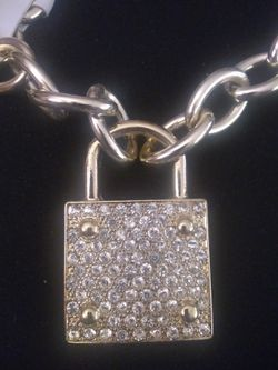 18k plated big iced put choker necklace Thumbnail