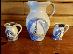 Beautiful Handmade Sailboat Pottery Pitcher & Cups for Sale in Sudley Springs, VA